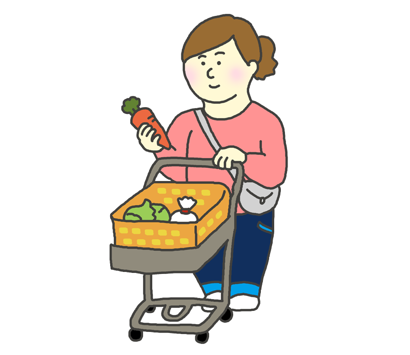 スーパーで買出しする女性のイラスト