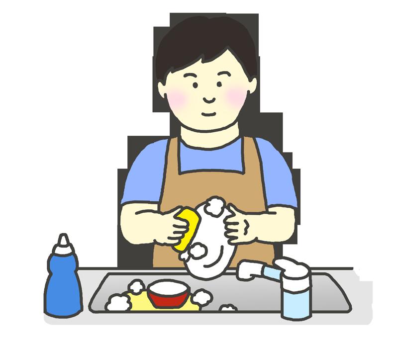 食器洗いをする男性のイラスト