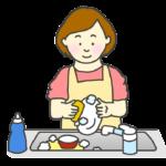 食器洗いをする女性のイラスト