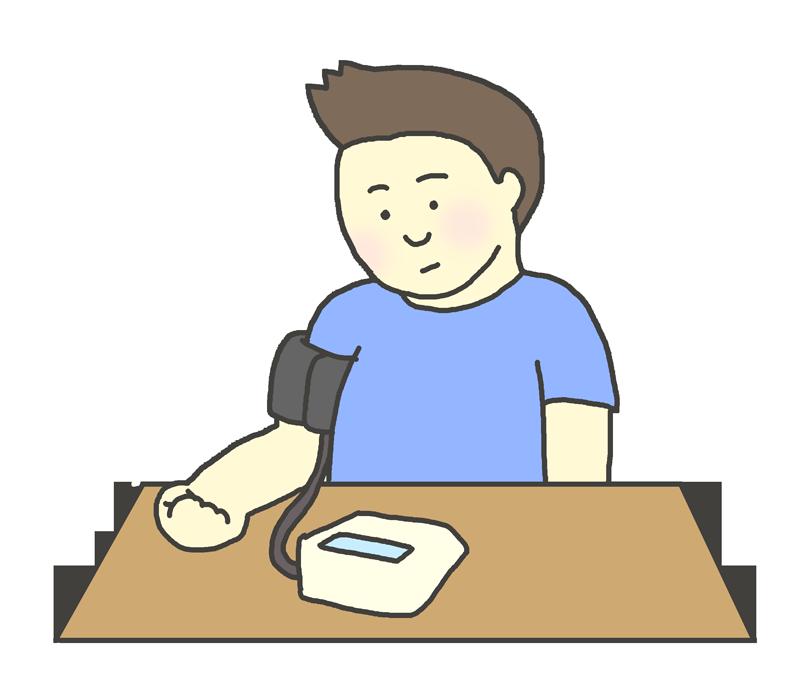 血圧測定する男性のイラストです。