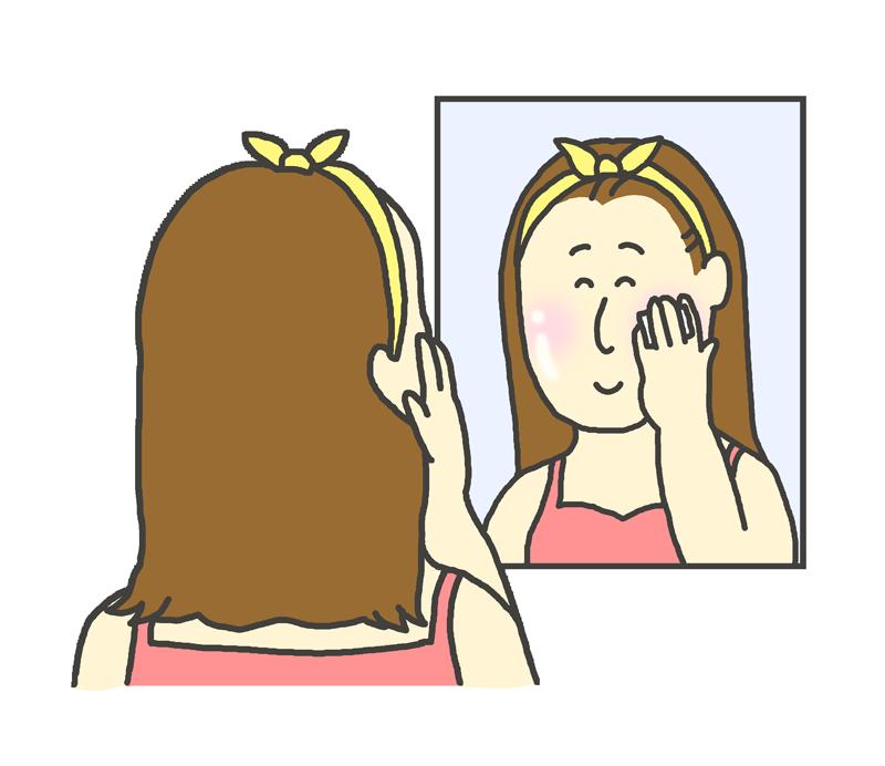 鏡に向かってスキンケアをする女性のイラスト