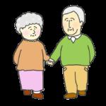 手を繋いで歩くおじいさんとおばあさんのイラスト