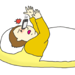 寝ながら操作していたスマホが顔面に落ちてくるイラスト
