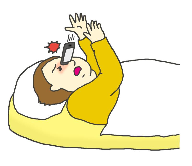 寝そべりながら見ていたスマホが顔に落ちてくるイラスト イラストの里