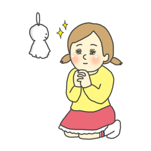 テルテル坊主に晴天を願う女の子のイラスト