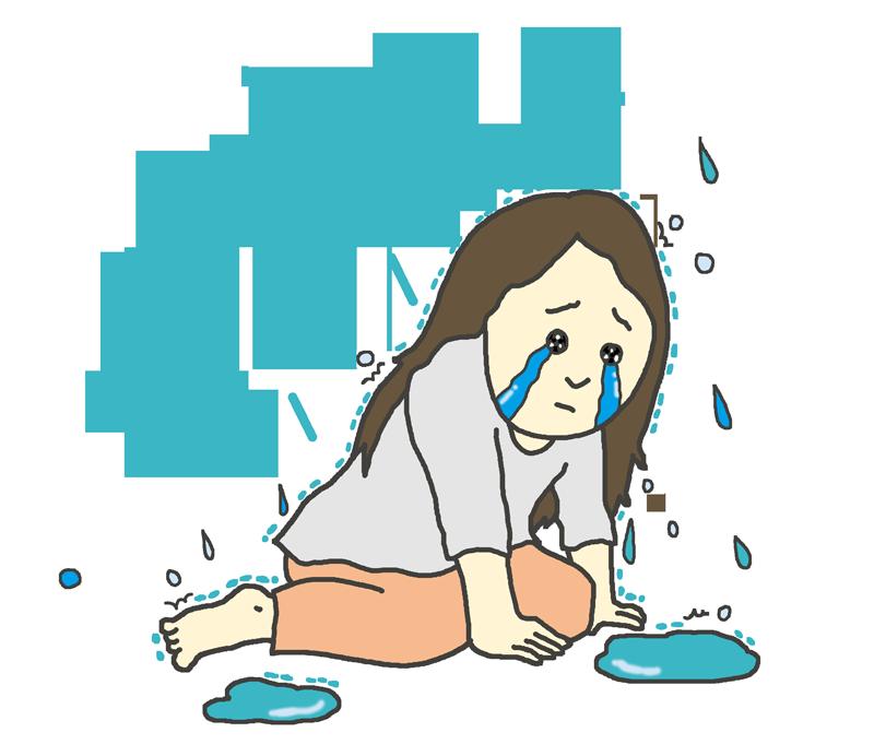 雨に打たれて泣く女性のイラスト