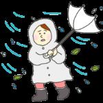暴風雨の中を歩く女性のイラスト