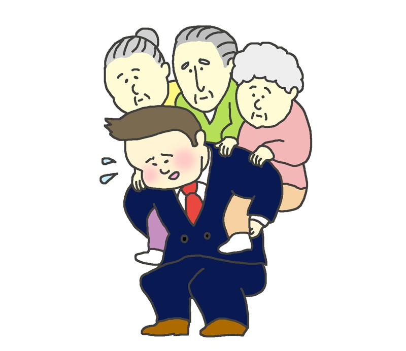 高齢者を支える若者のイラスト
