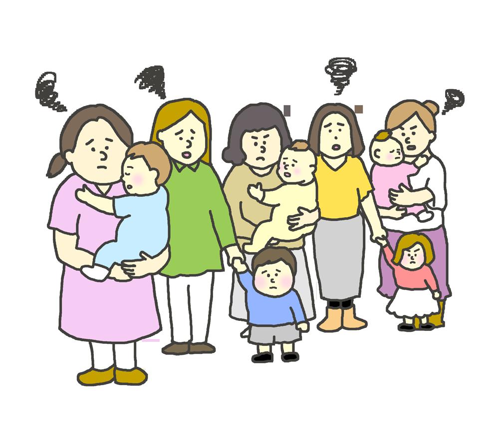待機児童問題のイラスト(子供を抱き抱え困る親)