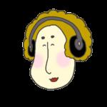 音楽を聴いている女性のアイコンイラスト