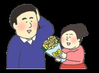 父の日に花束をプレゼントする女の子のイラスト