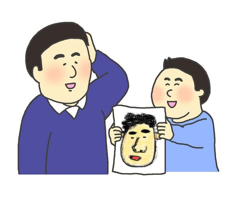 お父さんに似顔絵をプレゼントする男の子のイラスト