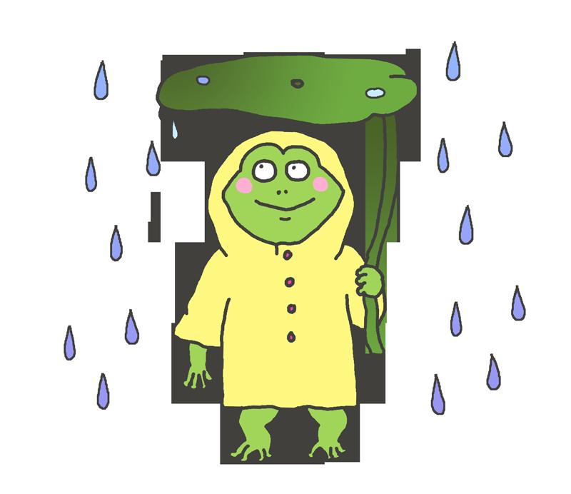 傘をさすカエルのイラスト イラストの里