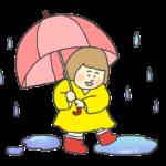 雨の中を楽しそうに歩く女の子のイラスト