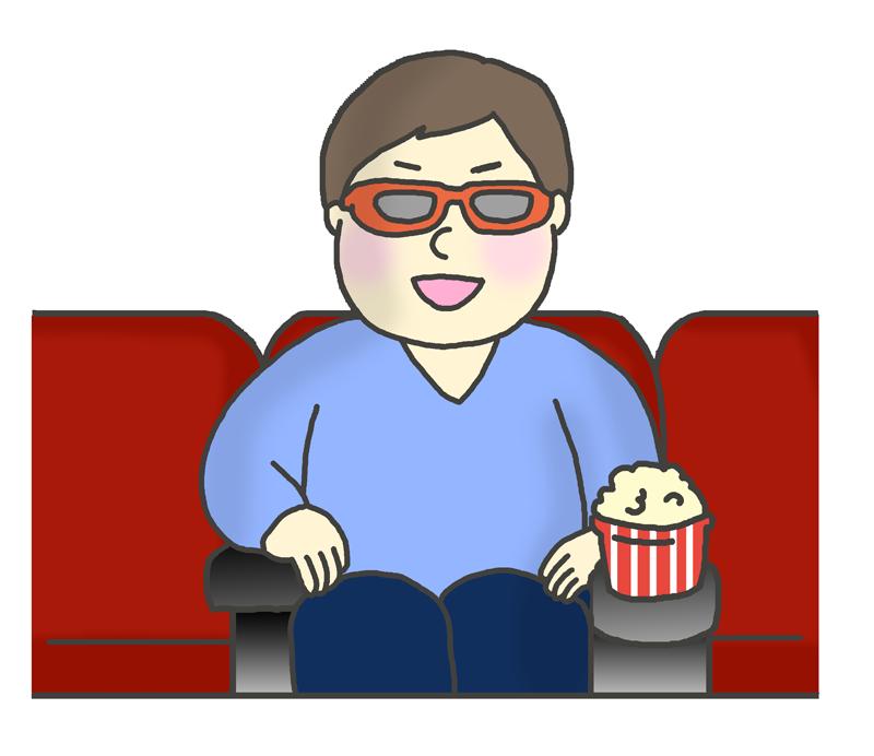 3Dメガネをかけて映画を観る男性のイラスト