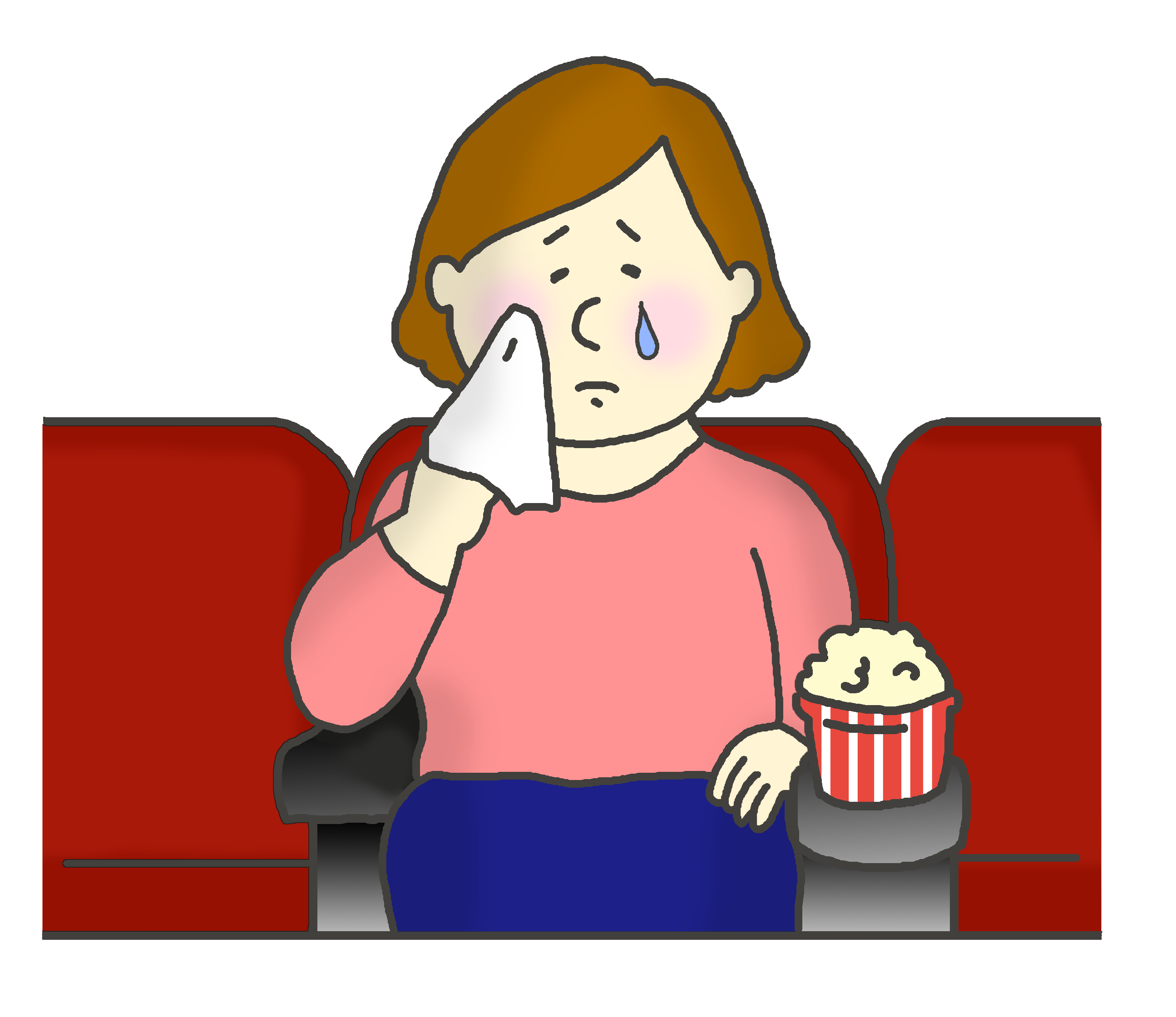 映画館で感動して泣く女性のイラスト