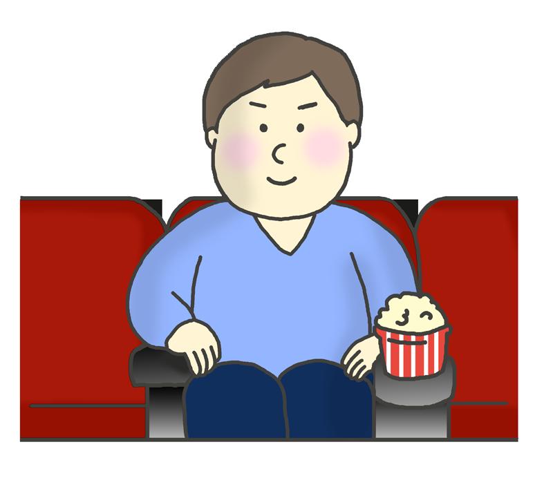 映画館で映画をみる男性のイラスト