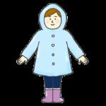 レインコートを着る女性のイラスト