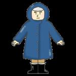 レインコートを着る男性のイラスト