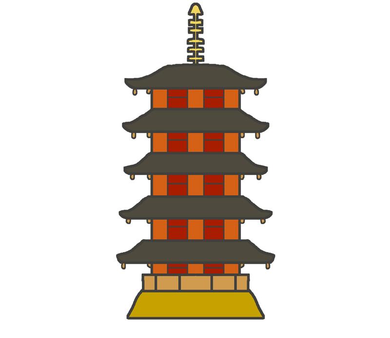 五重塔のイラスト