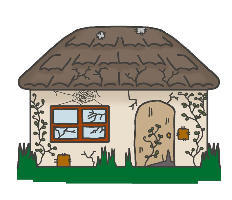 ぼろぼろの空き家のイラスト