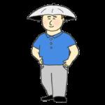 かぶる傘を被る男性のイラスト