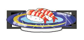 回転ずしのお皿に乗ったエビのお寿司
