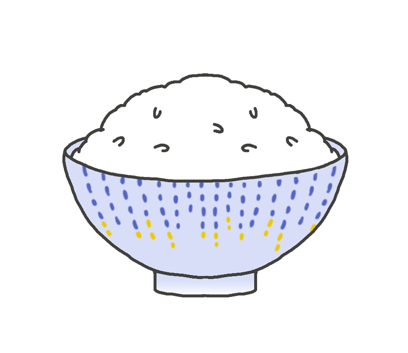 ご飯茶碗に盛られた白米のイラスト