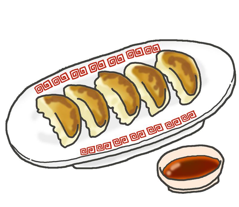 焼き餃子とタレのイラスト イラストの里