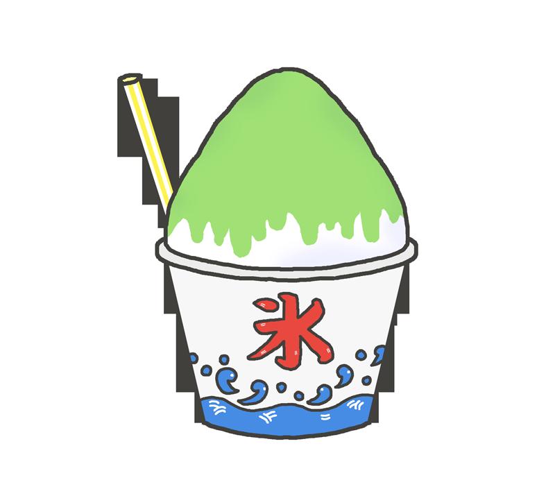 メロン味のかき氷のイラスト