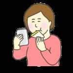 スマホを見ながらサンドイッチを食べる女性のイラスト