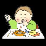 離乳食を食べ散らかす赤ちゃんのイラスト