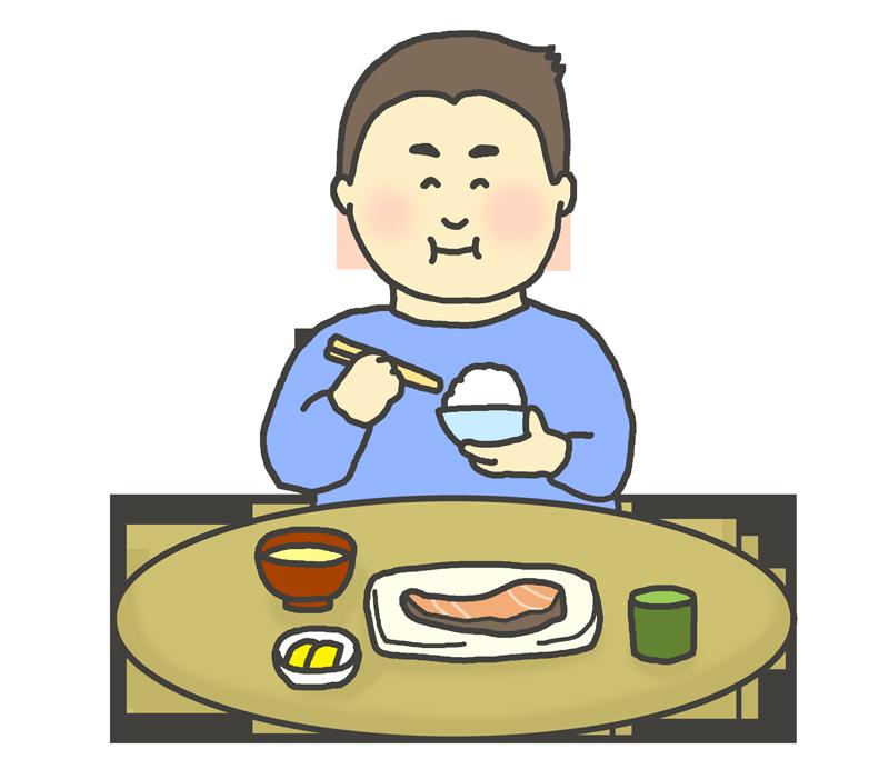 和食を食べる男性のイラスト