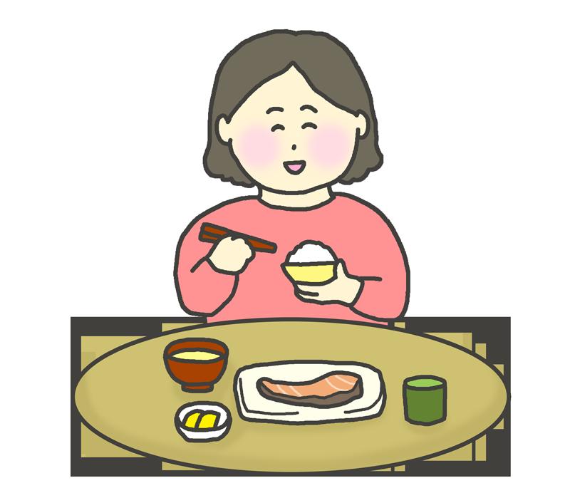 和食を食べる女性のイラスト