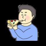 ピザを食べる男性のイラスト