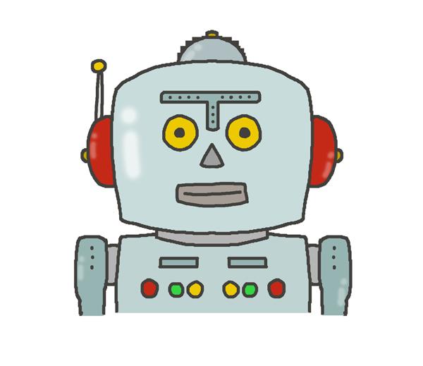 ブリキのロボットのアイコンイラスト