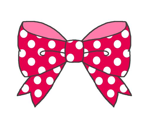ピンク×白のドットリボン