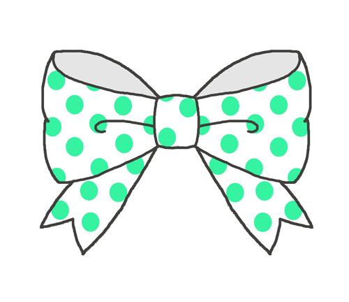 白×緑のドットリボン