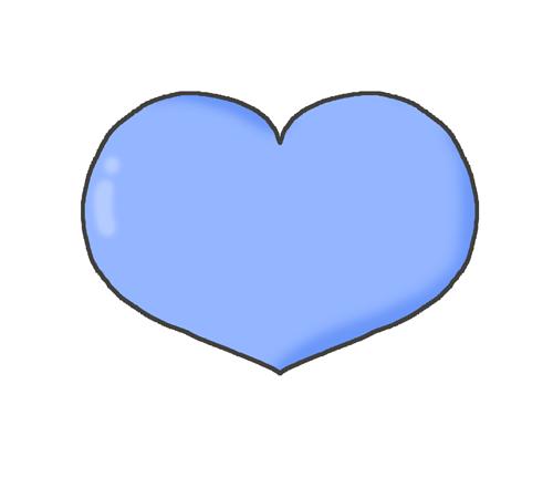 青色のハートマークのイラスト