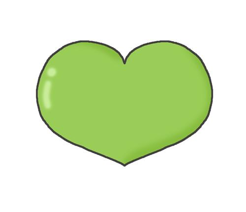 緑色のハートマークのイラスト