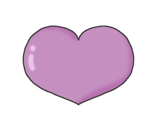 紫色のハートマークのイラスト