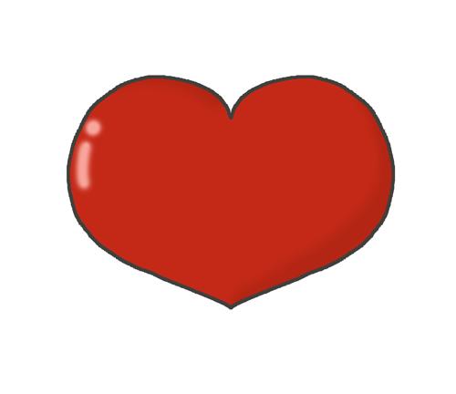 赤色のハートマークのイラスト