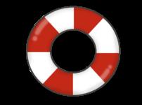 赤と白の浮き輪のイラスト