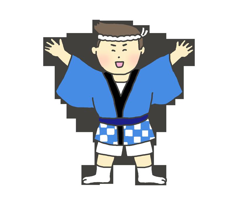お祭りはっぴを着た男の子のイラスト