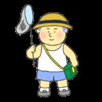 虫取り遊びをする男の子のイラスト