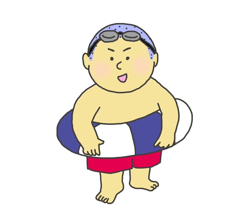 海水浴をする男の子のイラスト