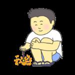 線香花火を楽しむ男の子のイラスト