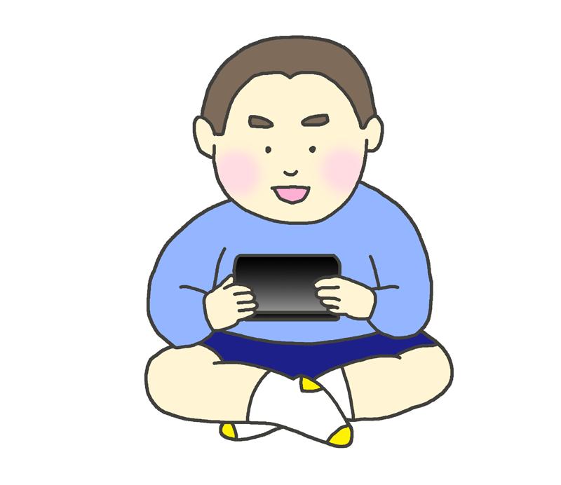 ゲーム機で遊ぶ子供(男の子)のイラスト