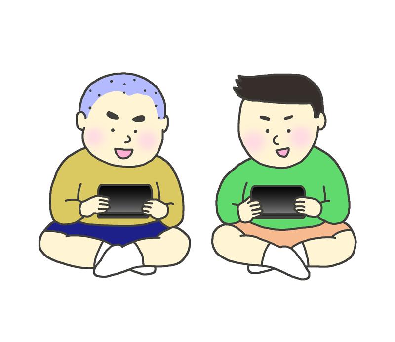 ゲーム機で遊ぶ子どもたちのイラスト