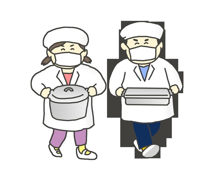 給食を運ぶ学生のイラスト